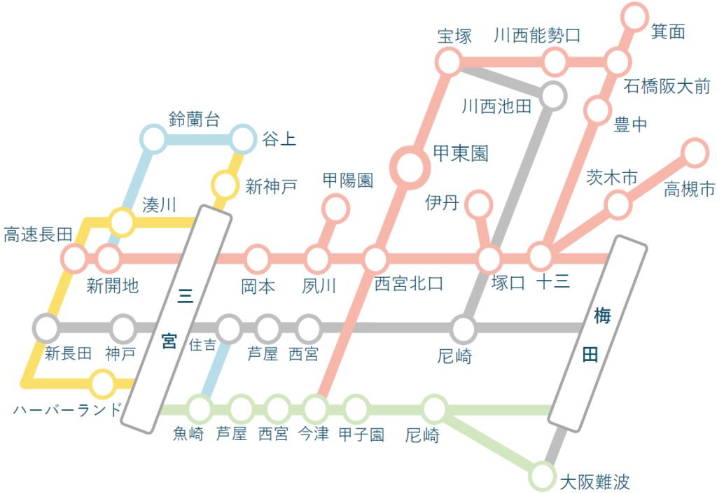 指導可能エリア(西宮市甲東園駅中心の路線図)。神戸市、芦屋市、宝塚市、大阪市などにお伺いします。
