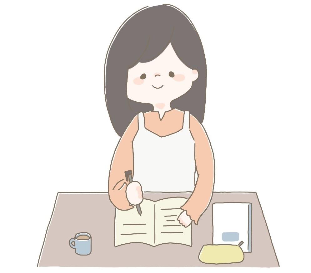 自宅学習をする女の子