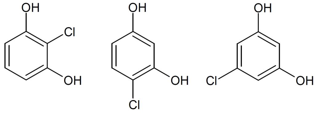 2-クロロ-1,3-ベンゼンジオール 、 4-クロロ-1,3-ベンゼンジオール 、 5-クロロ-1,3-ベンゼンジオール