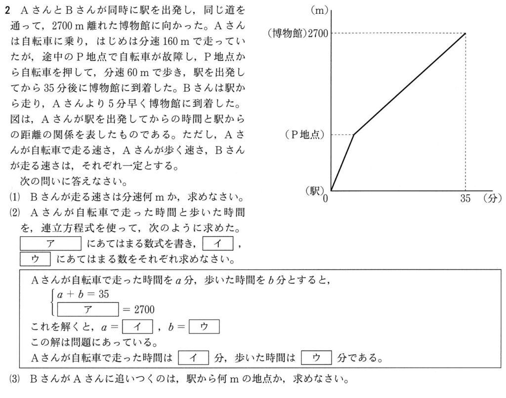 兵庫県公立高校入試 2021年度 数学 大問2