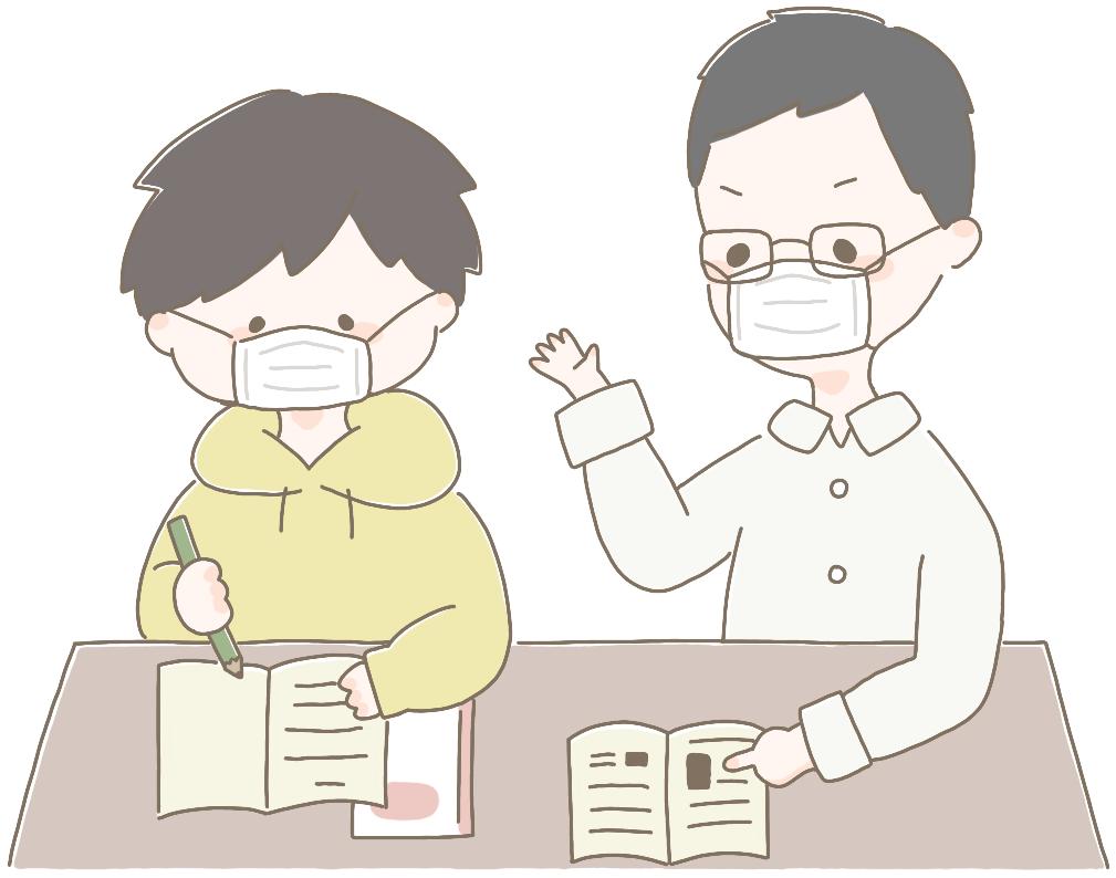 家庭教師と男の子(マスク着用)